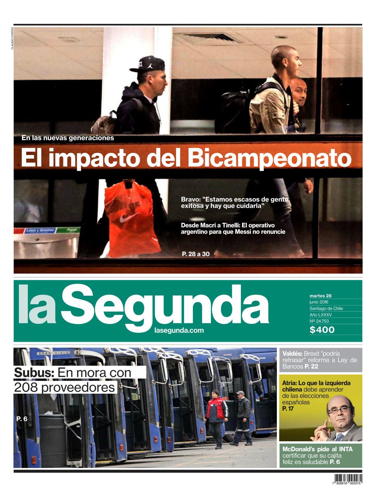 Diario La Segunda 2016-06-28 | 1 : Crónica